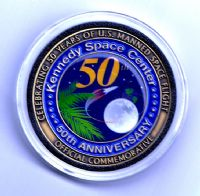 Kennedy Space Center 50 Years Medallion - Flown Metal